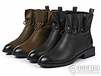 丹露短靴圆头复古女平底靴子