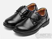 四季熊男童皮鞋秋新款黑色儿童单鞋