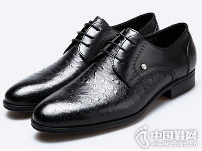 真皮男鞋秋季新款皮尔卡丹英伦潮流正装皮鞋