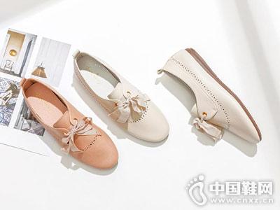 百搭透气交叉绑带女鞋卓诗尼白色小皮鞋