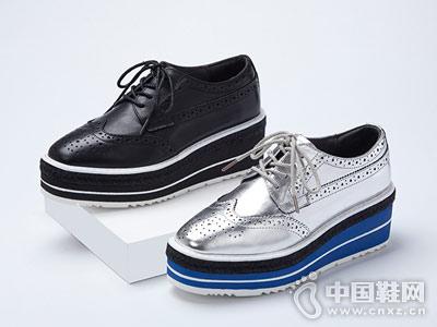 非谜厚底鞋布洛克系带真皮坡跟松糕鞋