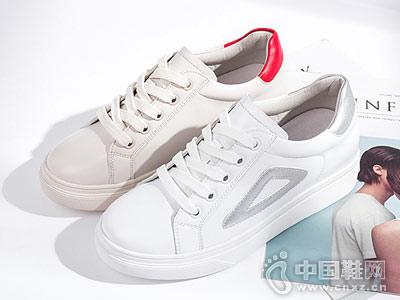百搭小白鞋平底休闲鞋珂卡芙新品
