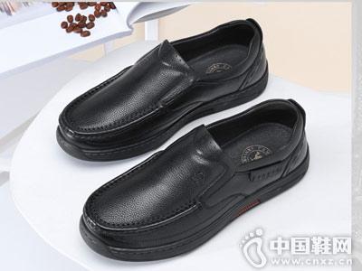 低帮男士商务休闲皮鞋骆驼套脚爸爸鞋