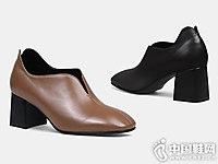 深口单鞋女秋季欧美粗跟翡丽玫瑰奶奶鞋