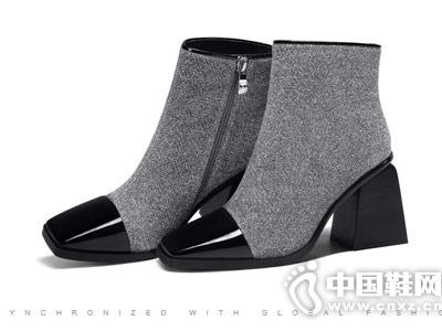 弹力布拼接超纤漆皮粗跟柯玛妮克短靴