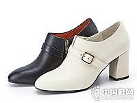 Belle百丽女单鞋2018冬新粗高跟鞋