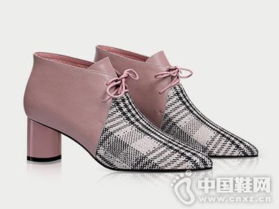 时尚性感尖头拼色系带女士香阁儿冬靴