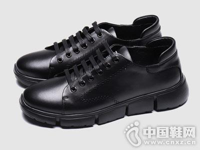 布莱希尔顿秋季真皮韩版黑色潮流板鞋