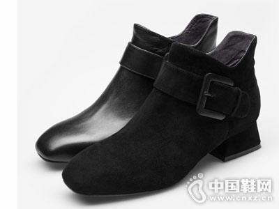 BASTO百思图2018冬季方跟女皮短靴