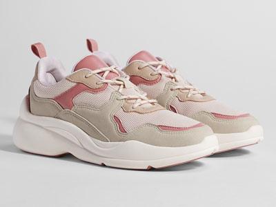 Bershka秋装新款潮流粉色拼接厚底老爹鞋