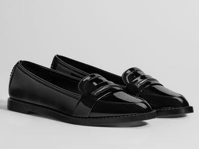 Bershka女鞋2018新款黑色平底小皮鞋
