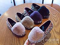 小女孩软底水晶鞋小米步公主鞋