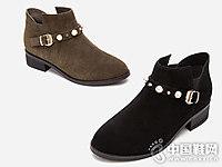 热风冬款女鞋短筒靴休闲珍珠反绒皮短靴