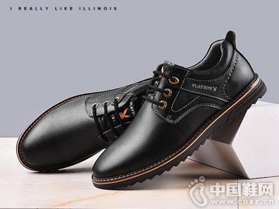 男士韩版潮流休闲鞋花花公子黑色小皮鞋