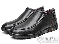 红蜻蜓真皮男鞋2018冬季高帮休闲皮鞋