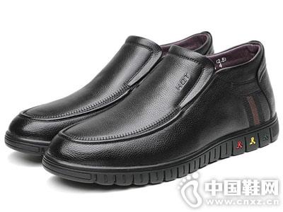 紅蜻蜓真皮男鞋2018冬季高幫休閑皮鞋