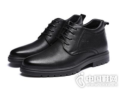 男棉鞋2018冬新款紅蜻蜓皮鞋