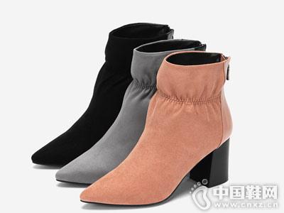 圆漾2018秋季新品时尚尖头束口女短靴