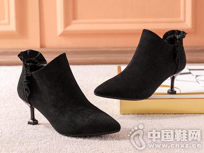 DUSTO大东2018冬新款荷叶边拉链短靴