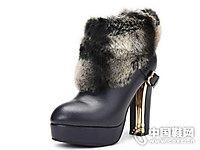 沃格女鞋2018新款翻毛高跟靴子