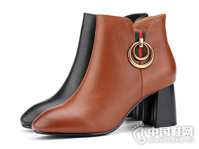 秋冬新款时尚欧美大牌粗跟芭妮短靴