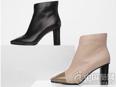 迪朵2018冬新款女粗跟欧美短靴