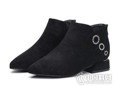 展风女鞋时装棉鞋尖头方跟2018新款