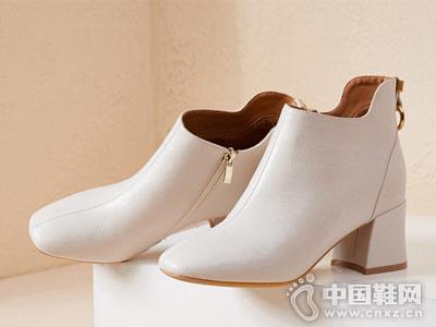 香香莉高跟短靴女秋2018新款靴子白色裸靴