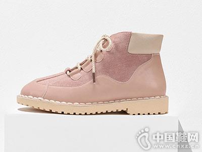 鞋柜SHOEBOX2018冬靴拼接休闲短靴