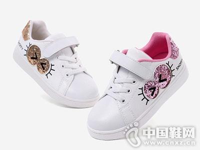 斯纳菲女童小白鞋学生运动板鞋2018新款