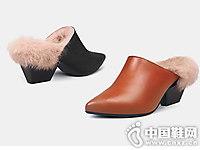 翡丽玫瑰兔毛毛毛拖鞋2018秋冬