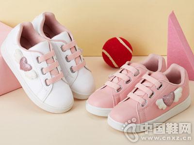 新款时尚立体爱心小白鞋笛莎女童