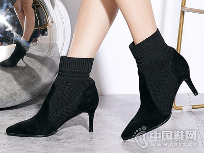 新款弹力袜靴康莉comely细高跟短靴子