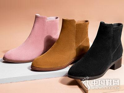 奥康女鞋2018冬季新款粗跟短靴