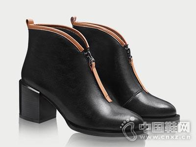 圆头拼色粗跟高跟加绒香阁儿靴子
