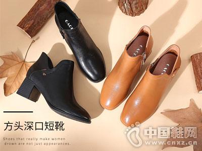 高蒂女鞋2018新款秋冬季粗跟短靴