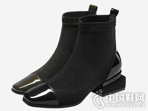 2018秋冬新款英伦中跟卡美多短靴
