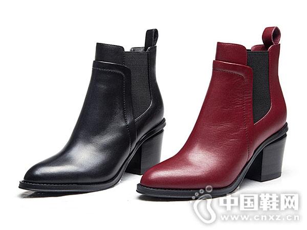 万里马2018秋冬季新款真皮中跟牛皮短靴