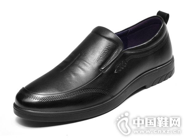 富贵鸟2018秋冬季新款圆头皮鞋