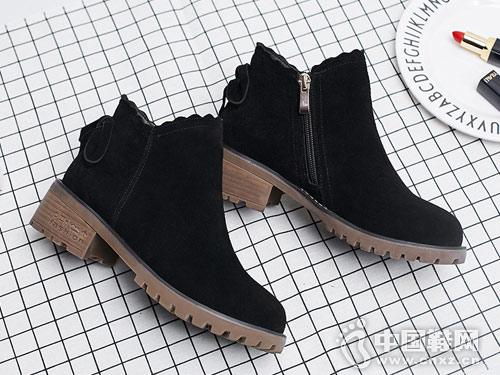 OBT欧百特真皮小短靴女粗跟2018新款