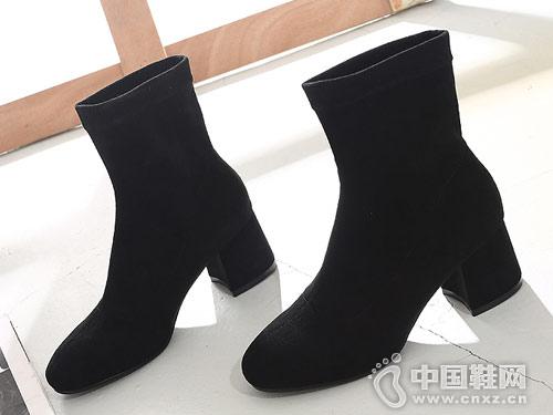 女粗跟百搭高跟靴子袜靴比佳妮新款