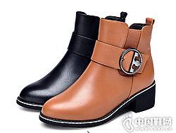 2018新款冬季英��潮流粗跟金猴女靴