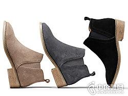 oe欧意切尔西短靴女冬季粗跟