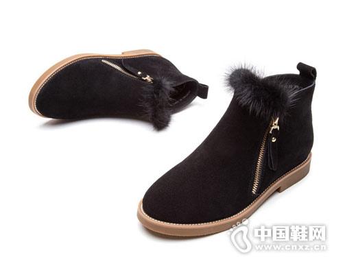 热风冬款小清新毛毛女士休闲短靴