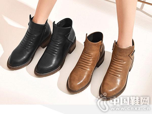 圆头侧拉链时装靴巨圣2018冬季新款