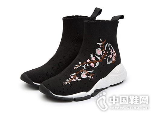 sundance太阳舞2018冬季新品时尚刺绣袜靴
