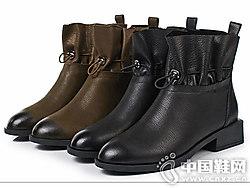 丹露短靴女春秋2018新款圆头复古靴子