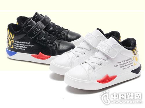 海绵宝宝儿童棉鞋小白鞋2018冬季新款