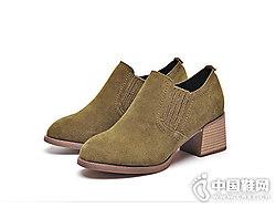 粗跟单鞋女2018新款莎诗特韩版磨砂复古