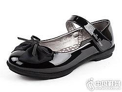 四季熊黑色女童公主鞋儿童皮鞋